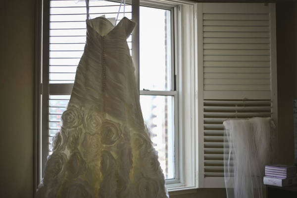 Wall Art - Photograph - Wedding Dress And Veil By The Window by Mike Hope