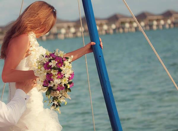 Wedding Bouquet Photograph - Wedding In Maldives by Jenny Rainbow
