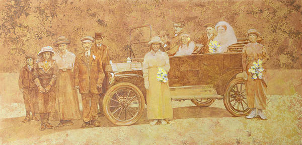 Wall Art - Painting - Wedding Party  by Clive Metcalfe