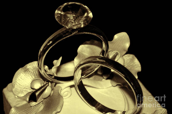 Photograph - Wedding Rings Cake Top Blk Antiqued by Lesa Fine