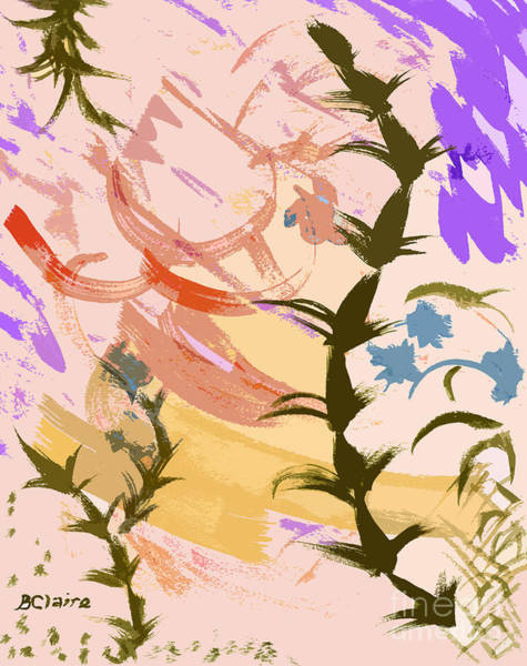 Digital Art - Weeds In Peach Plus Olive And Violet by Beverly Claire Kaiya