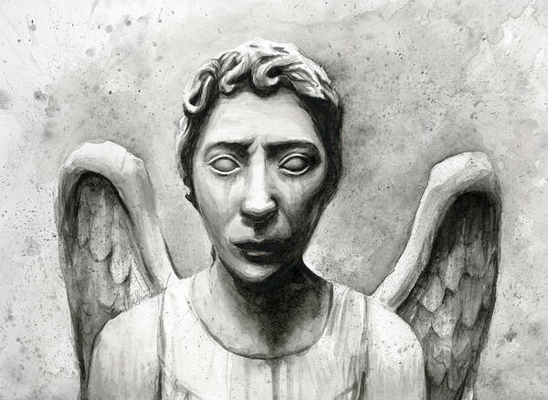 Fan Painting - Weeping Angel Don't Blink Doctor Who Fan Art by Olga Shvartsur