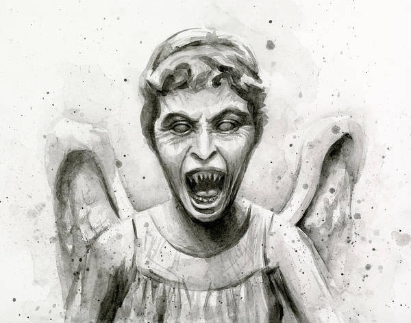 Fan Painting - Weeping Angel Watercolor - Don't Blink by Olga Shvartsur