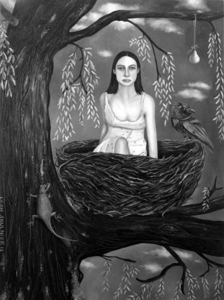 Crows Nest Wall Art - Painting - Weeping Willow In Bw by Leah Saulnier The Painting Maniac