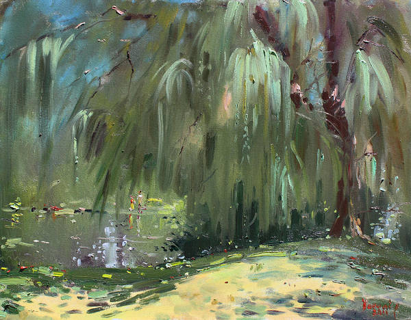 Lake Shore Wall Art - Painting - Weeping Willow Tree by Ylli Haruni