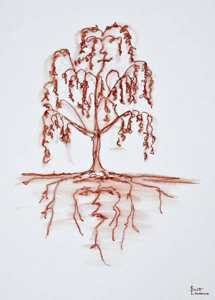 Ink Sketch Photograph - Weeping Willow With Heart And Soul by Richard Lawrence