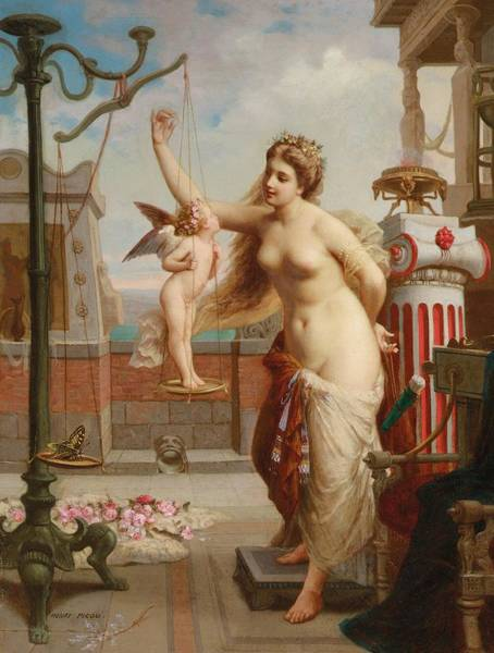 Classical Mythology Painting - Weighing Cupid by Henri Pierre Picou