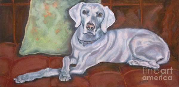 Painting - Weimaraner Reclining by Susan A Becker