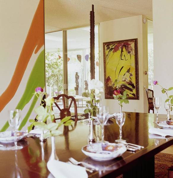 Yellow Flower Photograph - Weisman's Dining Room by Horst P. Horst