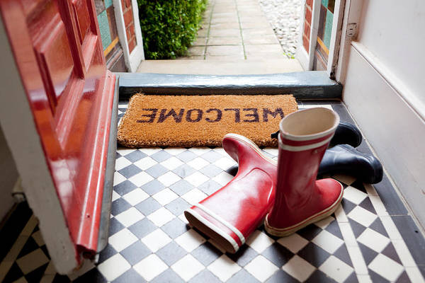 Welcome Mat And Wellington Boots Art Print by Image Source