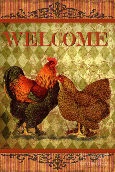 Welcome Sign Digital Art - Welcome Rooster-61412 by Jean Plout
