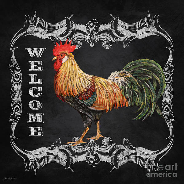 Jeans Mixed Media - Welcome Rooster-jp2618 by Jean Plout