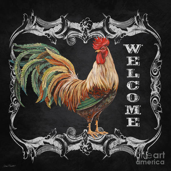 Jeans Mixed Media - Welcome Rooster-jp2619 by Jean Plout