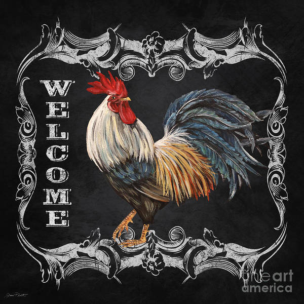 Jeans Mixed Media - Welcome Rooster-jp2620 by Jean Plout