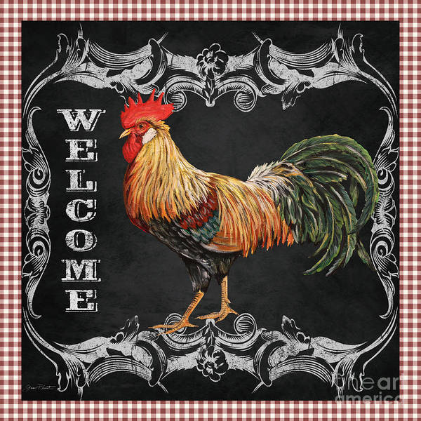 Jeans Mixed Media - Welcome Rooster-jp2623 by Jean Plout