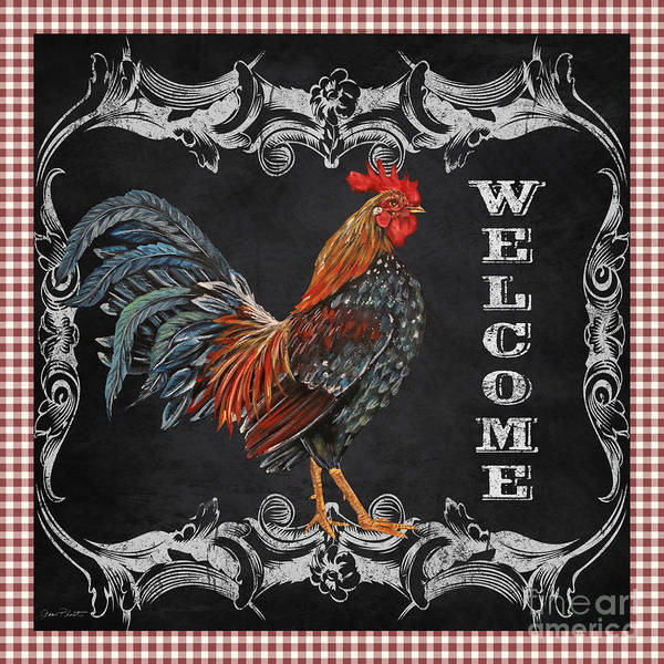 Jeans Mixed Media - Welcome Rooster-jp2625 by Jean Plout