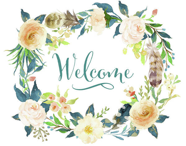 Home Painting - Welcome Teal Floral by Tara Moss