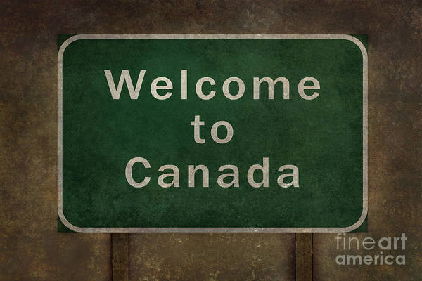 Welcome Sign Digital Art - Welcome To Canada Highway Road Side Sign  by Bruce Stanfield