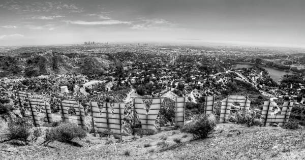 Welcome To Hollywood - Bw Art Print