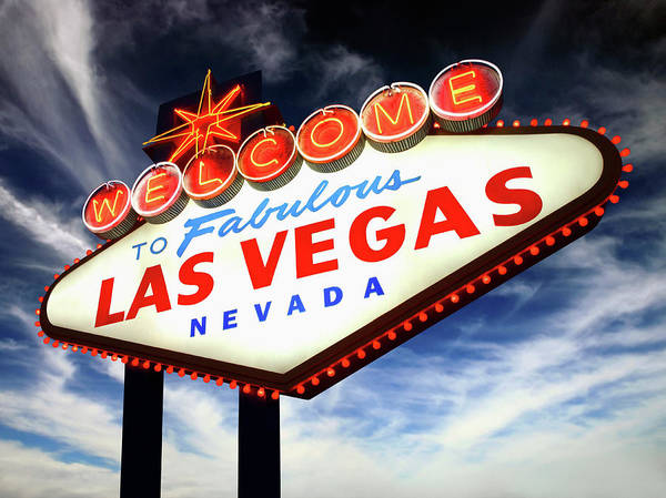 Kitsch Photograph - Welcome To Las Vegas Neon Sign, Low by Steven Puetzer