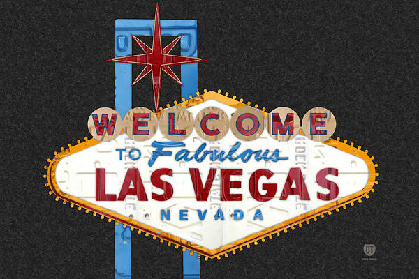Wall Art - Mixed Media - Welcome To Las Vegas Nevada Sign Recycled Vintage License Plate Art by Design Turnpike