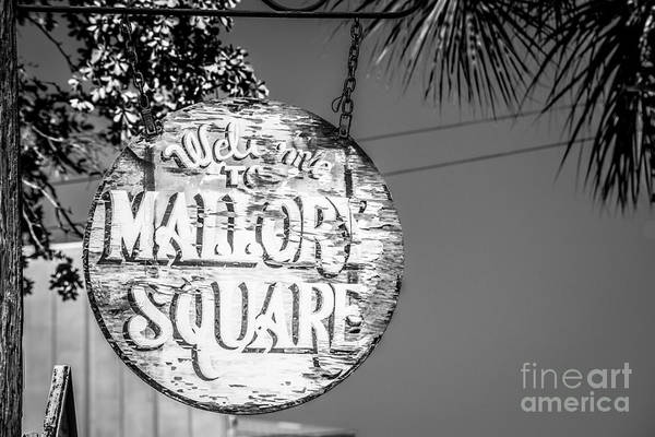 Street Performers Photograph - Welcome To Mallory Square Key West 2  - Black And White by Ian Monk