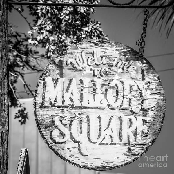 Street Performers Photograph - Welcome To Mallory Square Key West 2  - Square - Black And White by Ian Monk