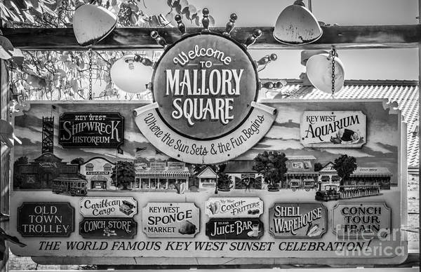 Wall Art - Photograph - Welcome To Mallory Square Key West - Black And White by Ian Monk