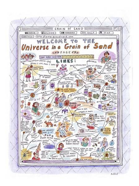 Home Drawing - 'welcome To The Universe In A Grain Of Sand' by Roz Chast