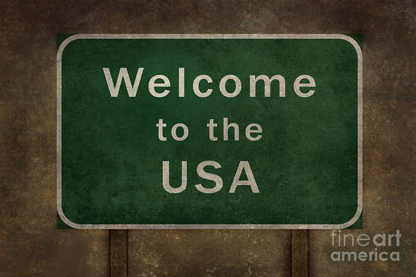 Welcome Sign Digital Art - Welcome To The Usa Highway Road Side Sign by Bruce Stanfield