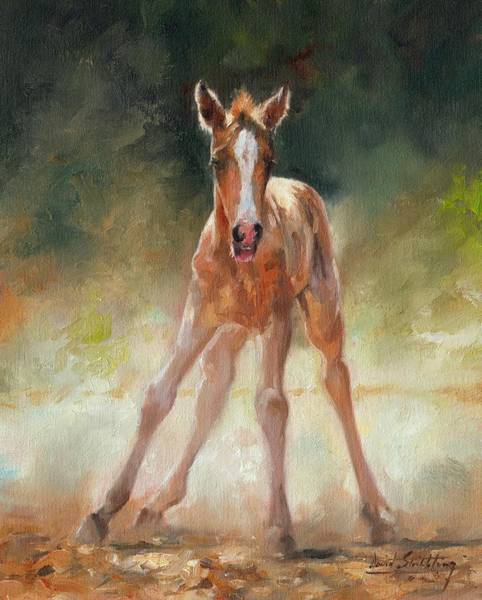 Foal Wall Art - Painting - Welcome To The World by David Stribbling