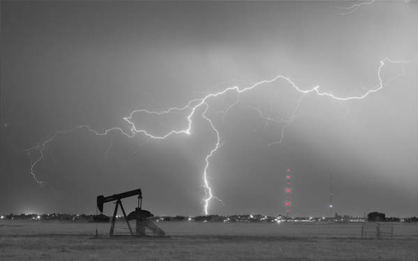 Photograph - Weld County Dacono Oil Fields Lightning Thunderstorm Bwsc by James BO Insogna