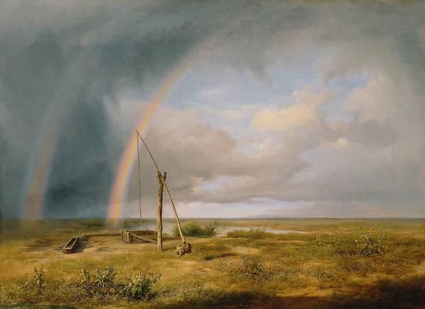 Wall Art - Painting - Well Against A Rainbow by Karoly I Marko