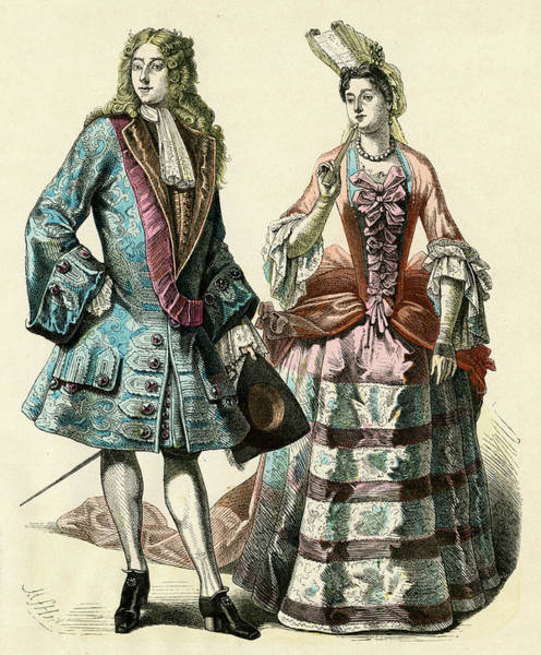 Courtiers Drawing - Well-born Man And Woman  Of The Court by Mary Evans Picture Library