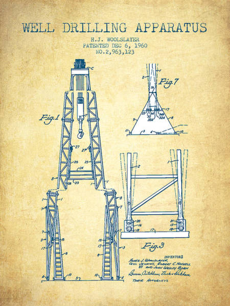 Drilling Rig Wall Art - Drawing - Well Drilling Apparatus Patent From 1960 - Vintage Paper by Aged Pixel