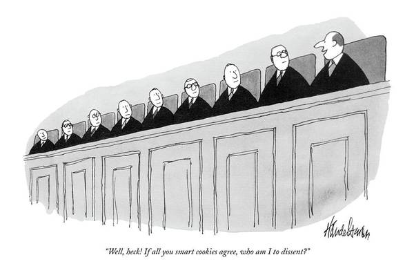 Bench Drawing - Well, Heck! If All You Smart Cookies Agree, Who by J.B. Handelsman