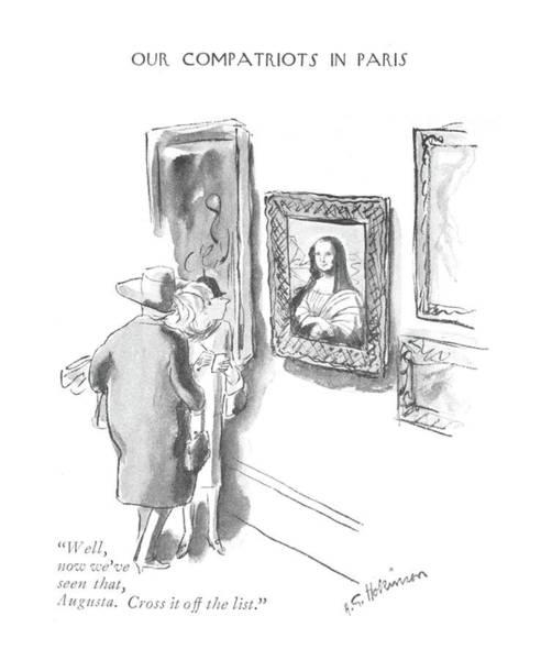 Artwork Drawing - Well, Now We've Seen That, Augusta. Cross by Helen E. Hokinson