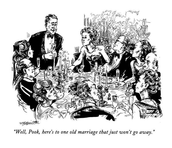 January 18th Drawing - Well, Pook, Here's To One Old Marriage That by William Hamilton