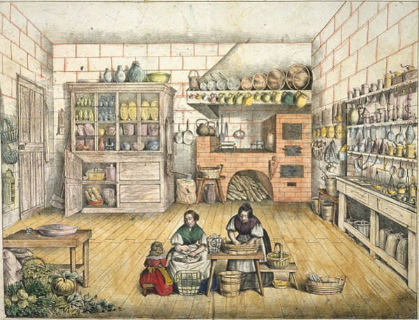 Cook Drawing - Well Stocked Rustic Kitchen by French School