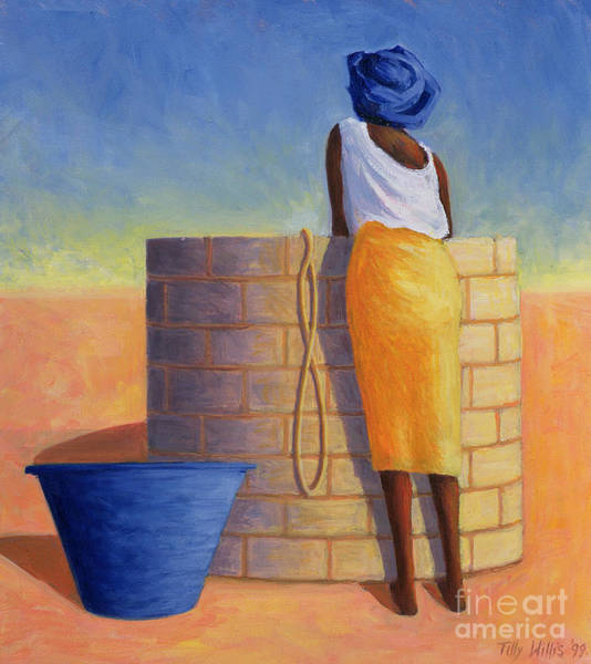 Wishing Well Painting - Well Woman by Tilly Willis