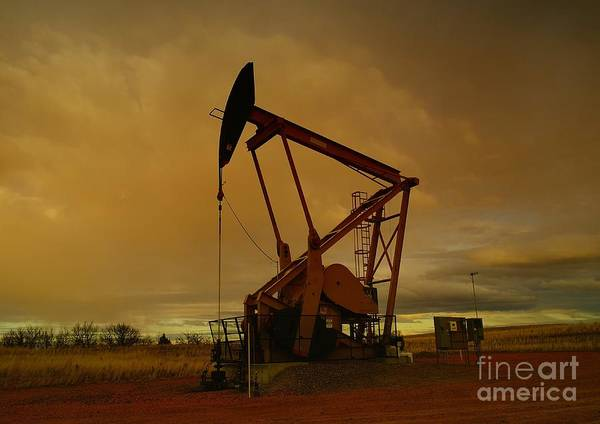 North Dakota Photograph - Wellhead At Dusk by Jeff Swan