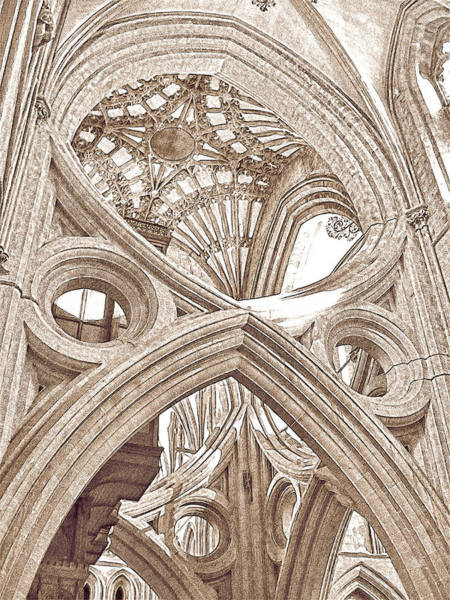 Photograph - Wells Cathedral Interior Lines And Shapes Sketch Brown by Menega Sabidussi