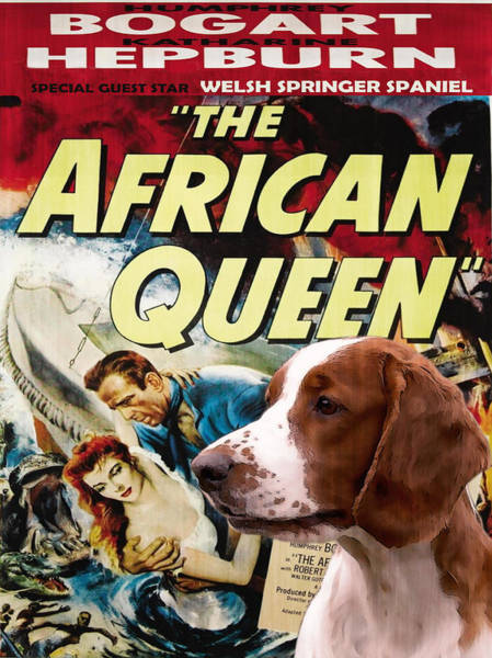 Welsh Springer Spaniel Painting - Welsh Springer Spaniel Art Canvas Print - The African Queen Movie Poster by Sandra Sij