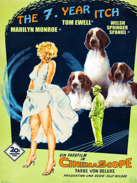 Welsh Springer Spaniel Painting - Welsh Springer Spaniel Art Canvas Print - The Seven Year Itch Movie Poster by Sandra Sij