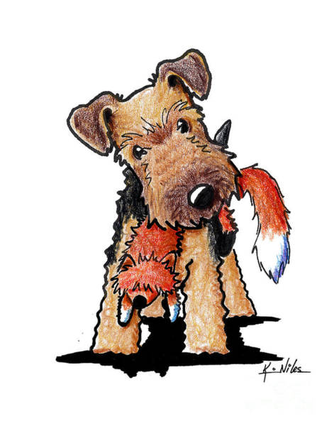 Fox Terrier Wall Art - Drawing - Welsh Terrier With Toy Fox by Kim Niles