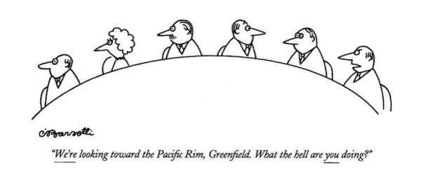 May 23rd Drawing - We're Looking Toward The Paci?c Rim by Charles Barsotti