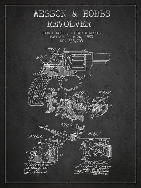 Weapons Digital Art - Wesson Hobbs Revolver Patent Drawing From 1899 - Dark by Aged Pixel