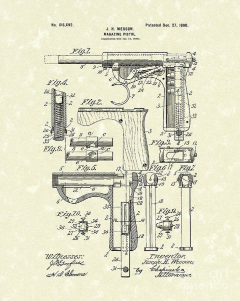 Drawing - Wesson Pistol 1898 Patent Art by Prior Art Design