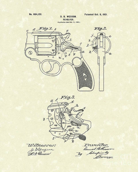 Drawing - Wesson Revolver 1901 Patent Art by Prior Art Design