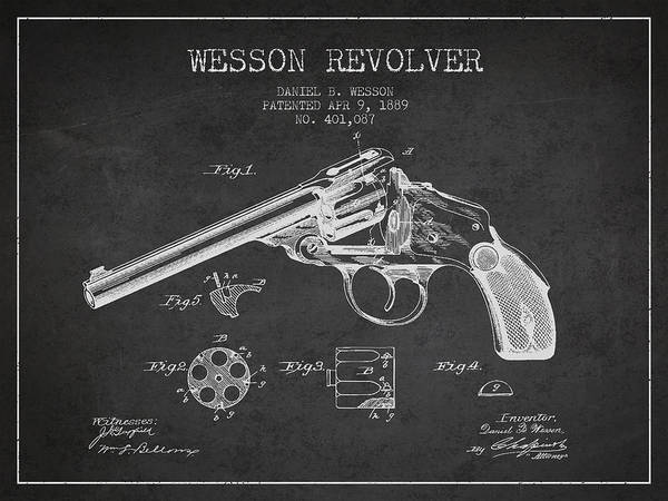 Shooting Digital Art - Wesson Revolver Patent Drawing From 1889 - Dark by Aged Pixel